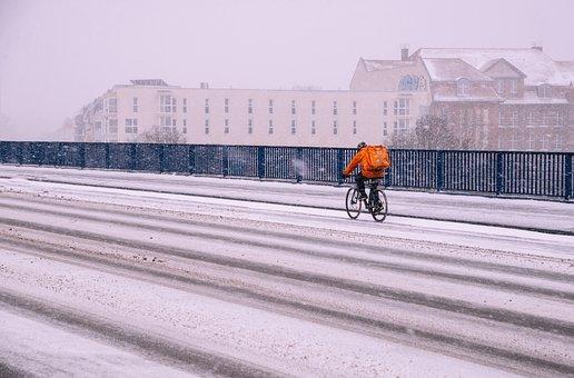Bicycle, Man, Snow, Road, Street, Bicycle Ride, Bike
