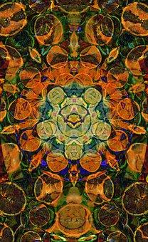 Sinasappel, Orange, Mandala, Pantagon, Geometric