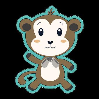 Monkey, Baby Monkey, Line Drawing, Line Art, Cartoon