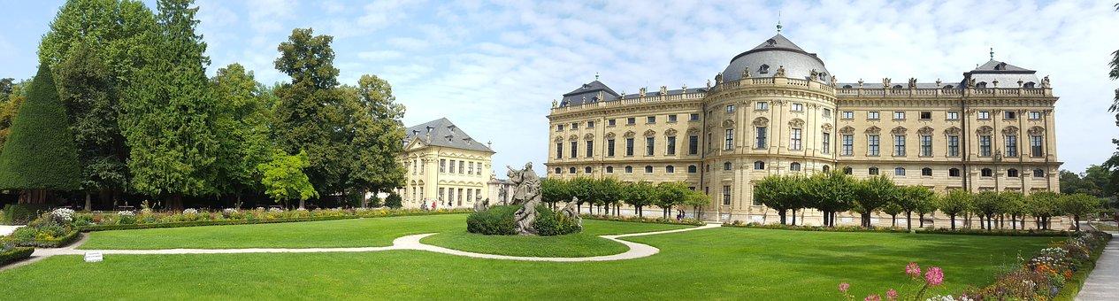 Würzburg, Panorama, Castle, Garden, Landscape