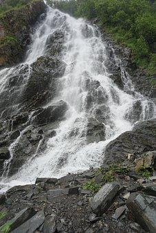 Waterfalls, Mountains, Rocks, Cliffs, Alaska, Cascade