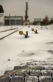Winter, Snow, Frost, Tristan, Gleise, Train, Industry