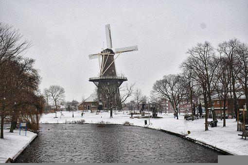 Windmill, Snow, River, Trees, Bare Trees, Winter, Snowy