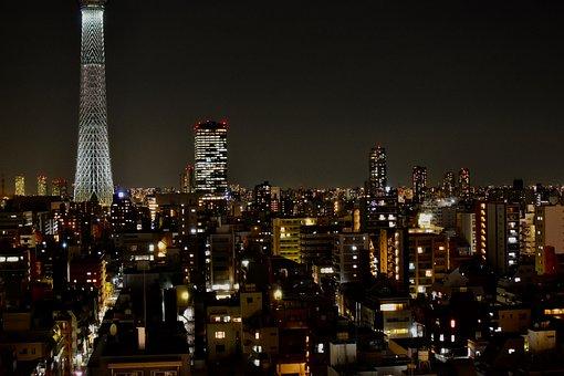 Japan, Tokyo, City, Night, Skytree, Building, Travel