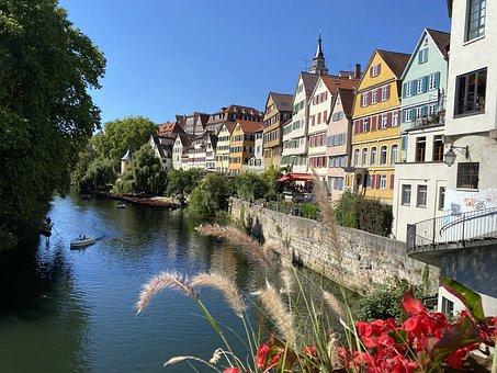 Tübingen, Skyline, Neckar, River, Germany, City