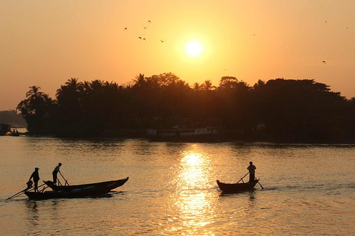 Sunset, River, Water, Fisherman, Palm Trees, Asia