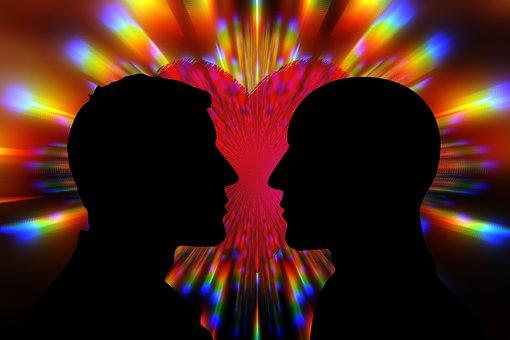 Love, Pair, Men, Man, Homosexuality, Gay, Kiss, Heart