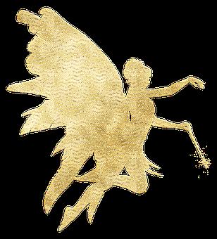 Gold Foil Fairy, Glitter, Fairy Silhouette, Fairytale