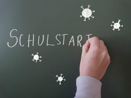 Hand, Board, School Start, Corona, Virus