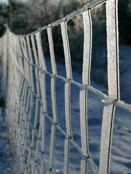 Fence, Ice, Iced, Winter, Snow