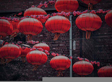 Red, Lantern, Cicada, Light, Chinese, Orange, Lampion