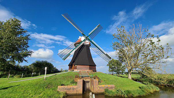 Water Pumping Mill, Mill, Windmill, East Frisia