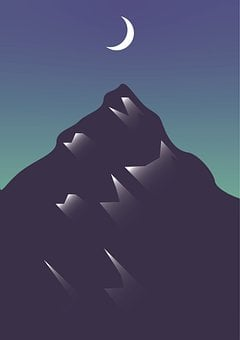 Night, Moon, Hill