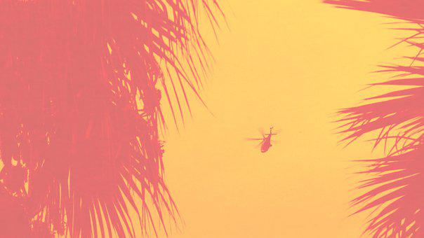 Helicopter, Yellow Sky, Sky, Flying, Rotor, Propeller