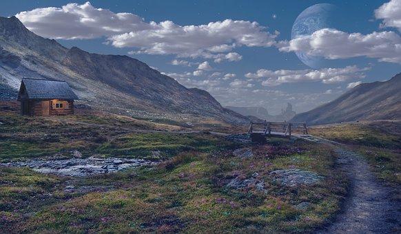 Cabin, River, Clouds, Fantasy, Peaceful, Landscape
