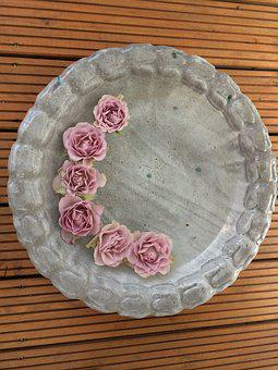 Roses, Clay Bowl, Summer Decoration, Balcony Decoration