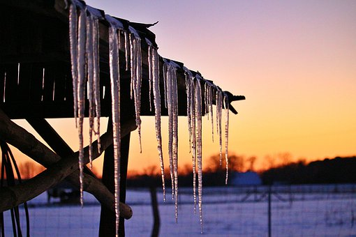 Icicle, Ice, Sunset, Winter, Snow, Nature, Sky, Cold