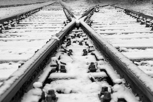 Black And White, Track, Soft, Rails, Train