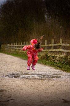 Girl, Jump, Wet, Rain, Happy, Joy, Jumping, Fun, Young