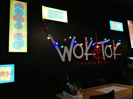 Restaurant, Chinese, Wok, Scenery, Lunch, Neon Sign