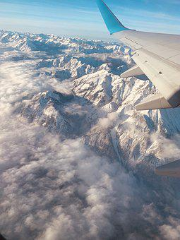 Airplane, Plane, Mountains, Travel, Tourism, Fly, Sky