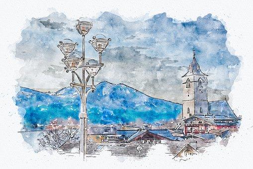 Town, Mountains, Photo Art, Buildings, Church