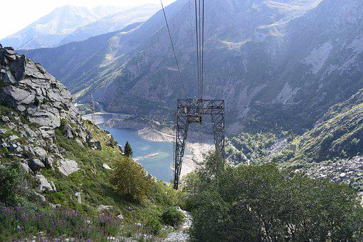 Pyrenees, Cable Car, Mountain, Cables, Hiking