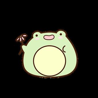 Frog, Flower, Cartoon, Amphibian, Animal, Cute, Kawaii