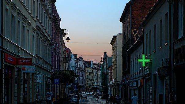 Twilight, City, Sky, Architecture, Street, Bydgoszcz