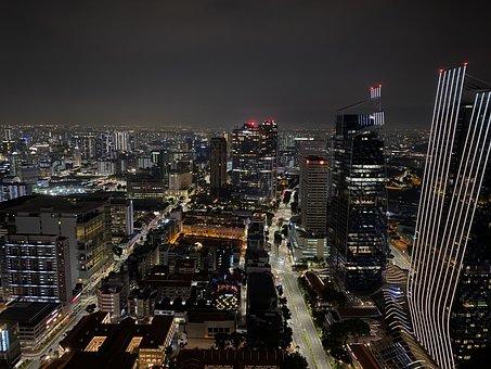 City, Night, Singapore, Buildings, Skyscrapers, Skyline