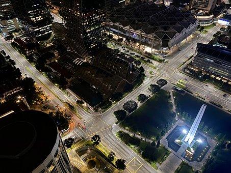 City, Night, Singapore, City Lights, Lights, Buildings