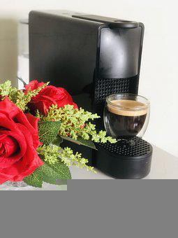 Coffee, Roses, Coffee Maker, Glass Cup, Coffee Cup