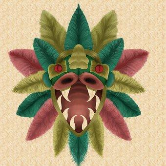 Quetzalcoatl, Feathers, Snake, Head, Creature