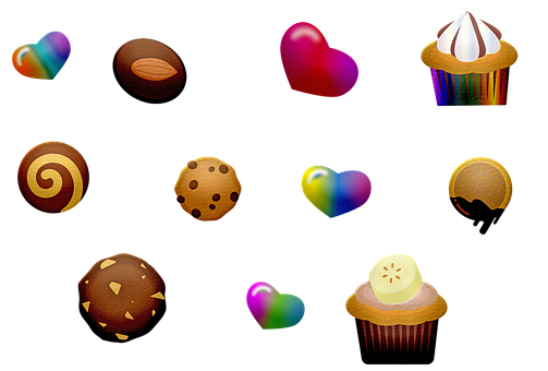 Cookies, Candy, Cupcake, Hearts, Valentines, Desserts