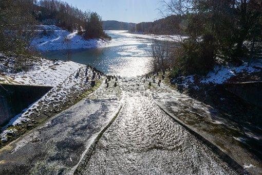Dam, Dhünn, Water, Winter