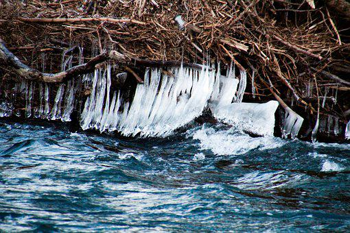Winter, River, Icicle, Ice, Waterfall, Frost, Landscape