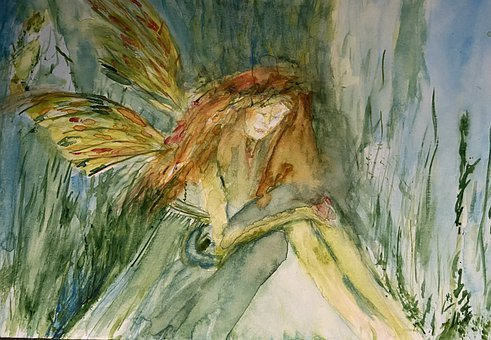 Fairy, Cave, Painting, Woman, Goddess, Fantasy, Magical