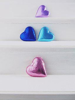 Heart, Colorful, Chocolate, Gradually, Stairs, Love