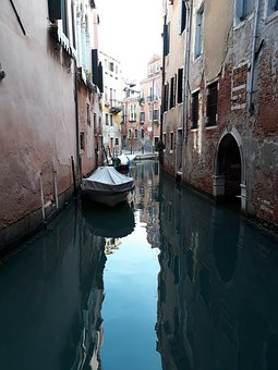 Canal, Boats, Houses, Gondolas, Water, Reflection