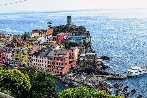 Italy, Vernazza, Liguria, Landscape, Sea, Colorful