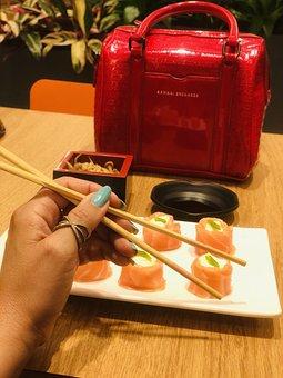 Sushi, Chopsticks, Hand, Japanese, Japanese Food