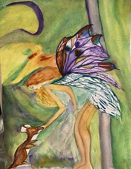 Fairy, Squirrel, Painting, Fantasy, Animal, Magic