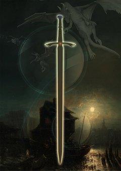 Fantasy, Sword, Gloomy, Dragons, Mood, Composing