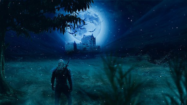 Witcher, Moon, Tree, Castle, Night, Sky, Fantasy