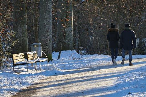 Bank, Walk, Snow, Park, Zweisam, Park Bench, Nature