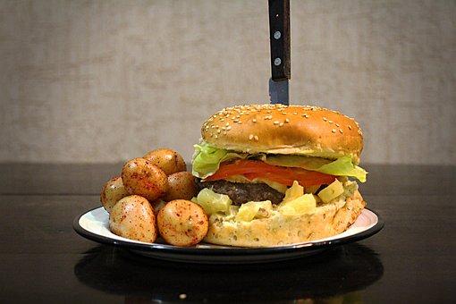 Burger, Potatoes, Hamburger, Marble Potatoes, Meal