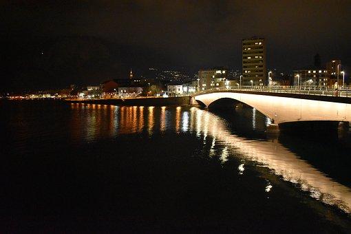 River, Bridge, Night, Light, Reflection, Water