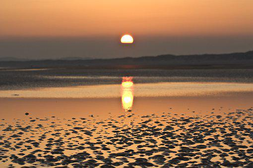 Beach, Sunset, Orange, Sky, Sea, Ocean, Coast, Water