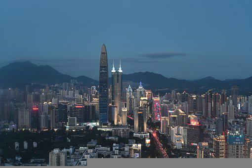 Shenzhen, City, Night, Building, China, Traffic