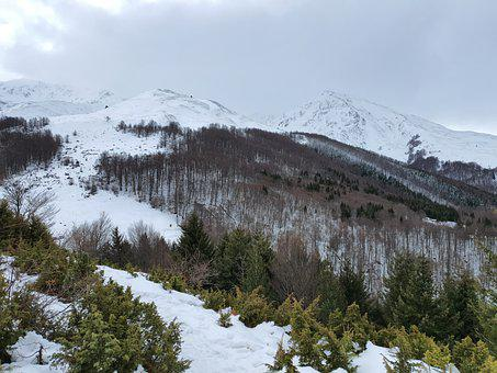 Snow, Lovers, Mountains, Winter, Sky, Clouds, Beautiful
